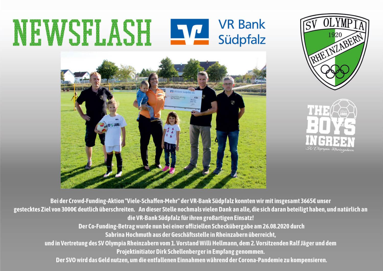 """VR Bank Südpfalz Crow-Funding-Aktion """"Viele-Schaffen-Mehr"""" SV Olympia Rheinzabern"""